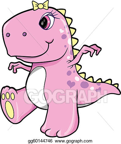 picture black and white download Vector art cute girl. Trex clipart pink
