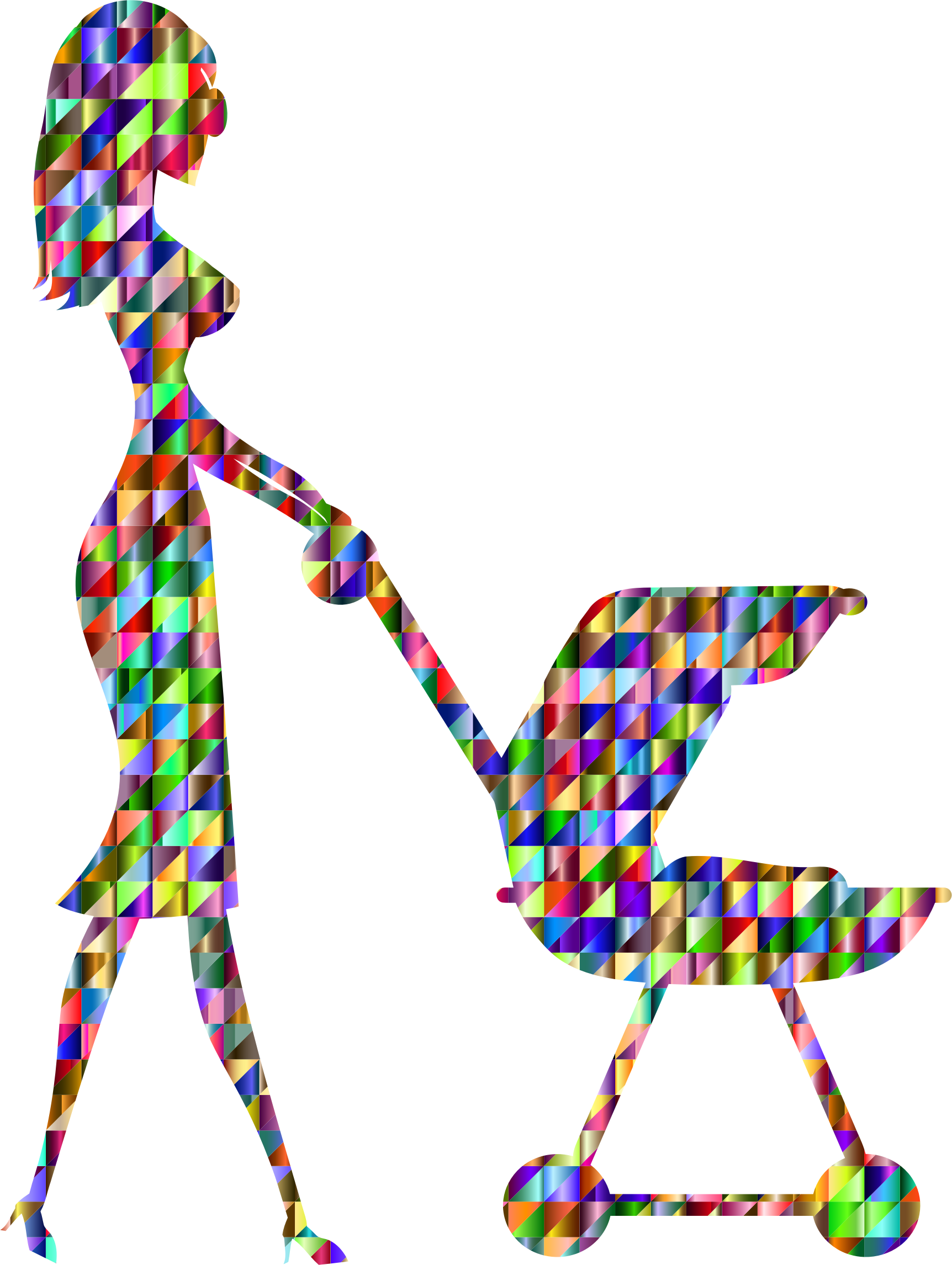 clip art free Chromatic woman with baby. Triangular clipart