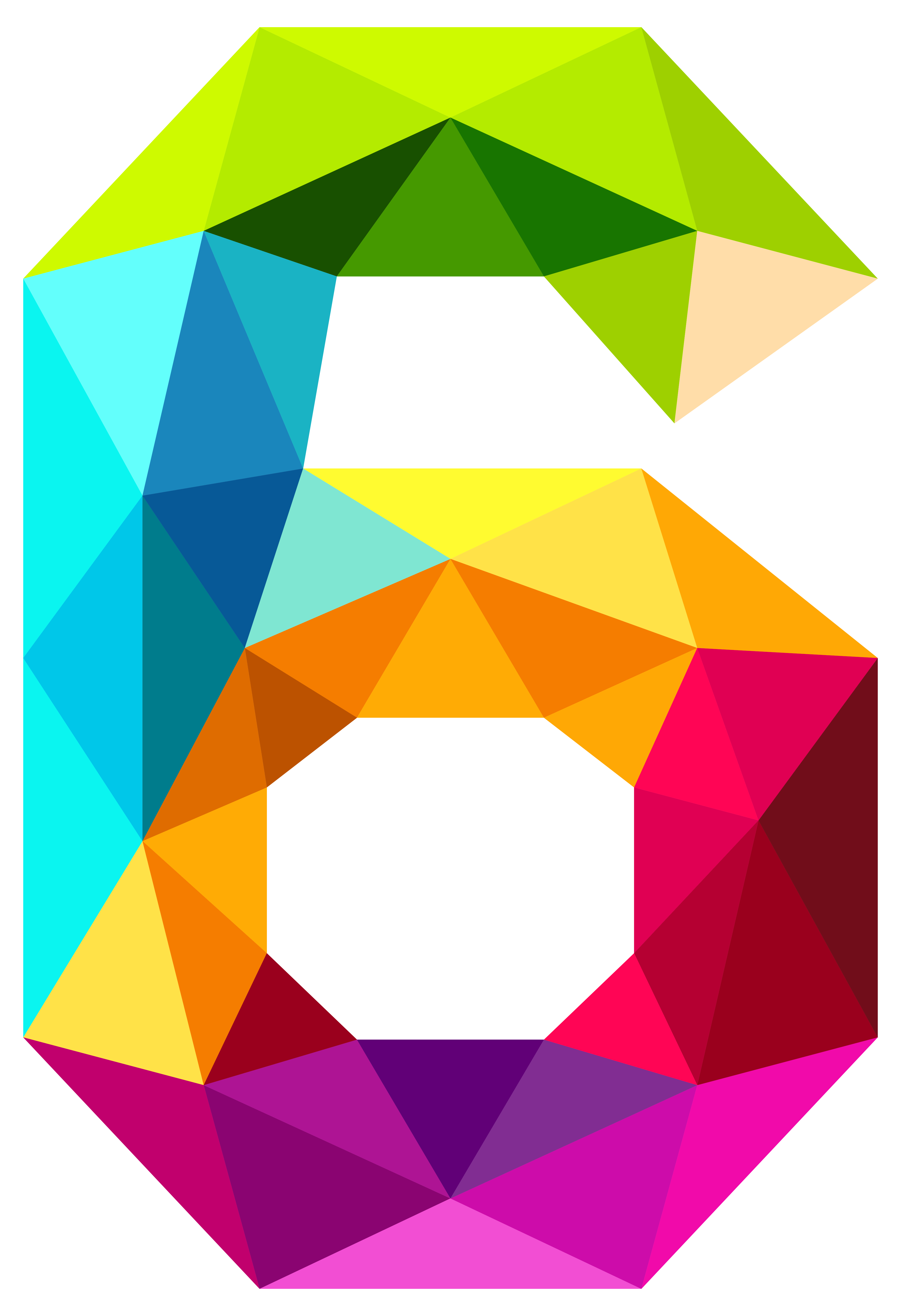 clip art transparent library Colourful Triangles Number Six PNG Clipart Image
