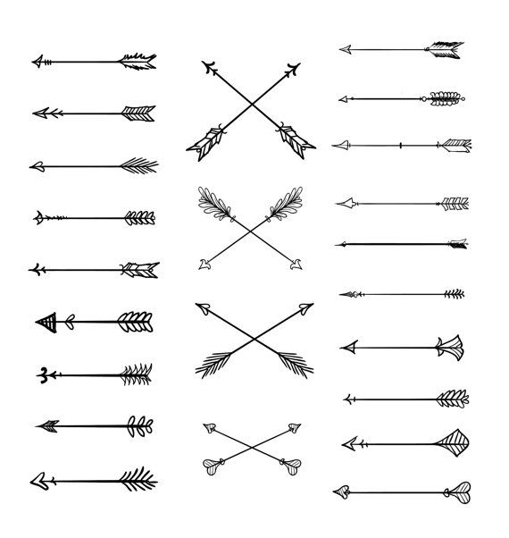 image royalty free download Doodle arrows hand drawn. Tribal arrow clipart vector.