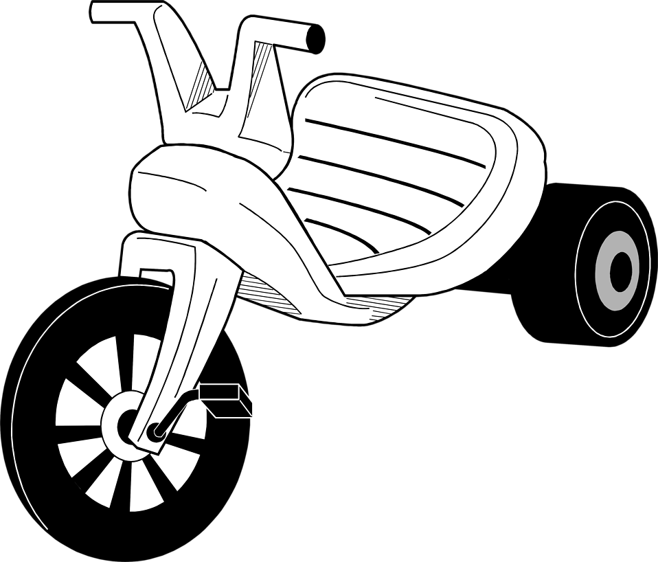 vector black and white stock Tricycle clipart. Black and white pencil