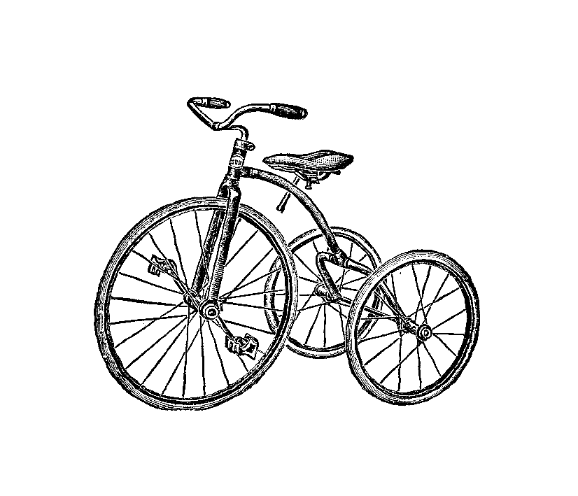 vector black and white tricycle drawing