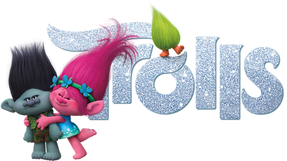 banner black and white library Trolls Movie With Logo Png