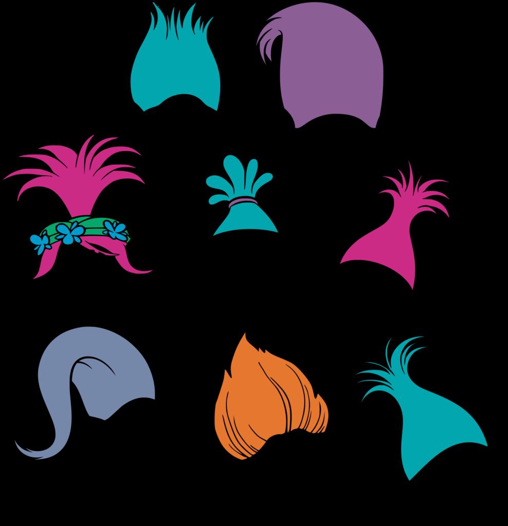 graphic free library Trolls Hair Monogram Frame SVG Cut File Set