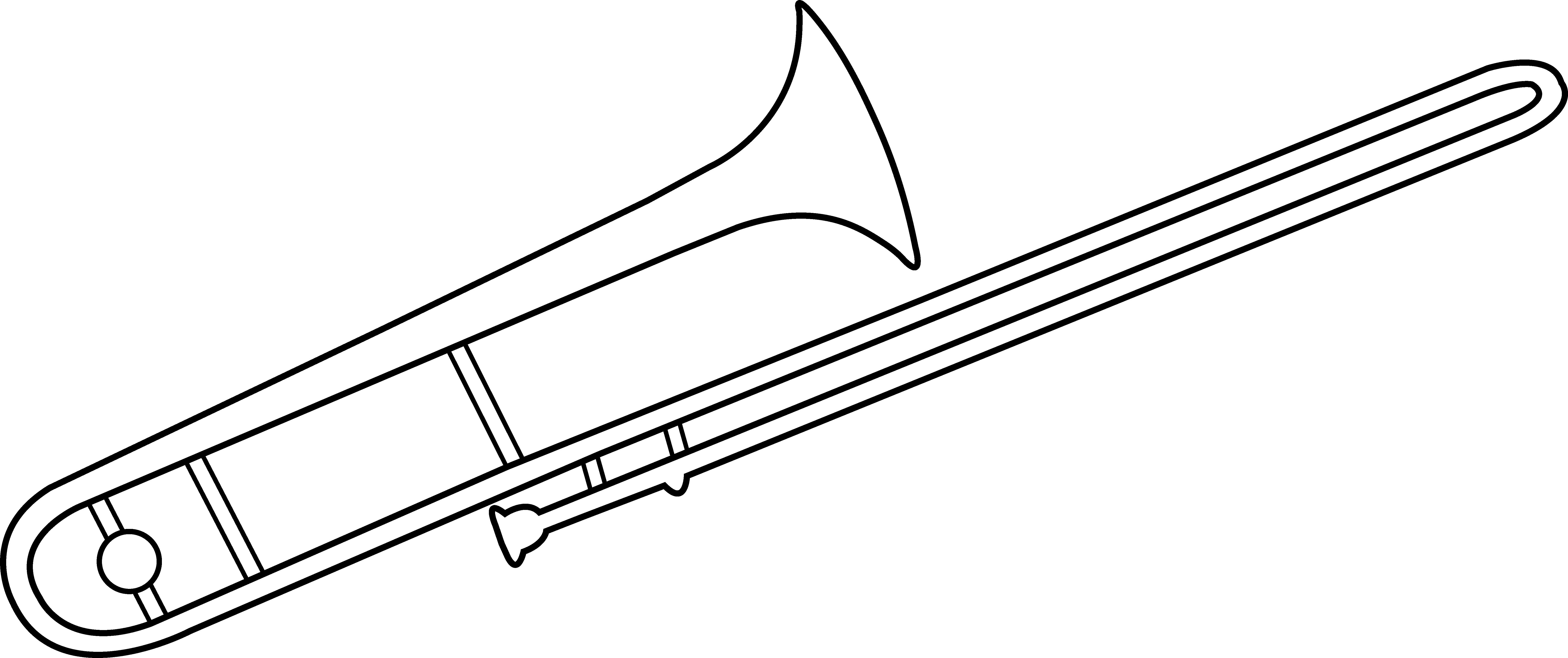 freeuse stock Trombone Line Art