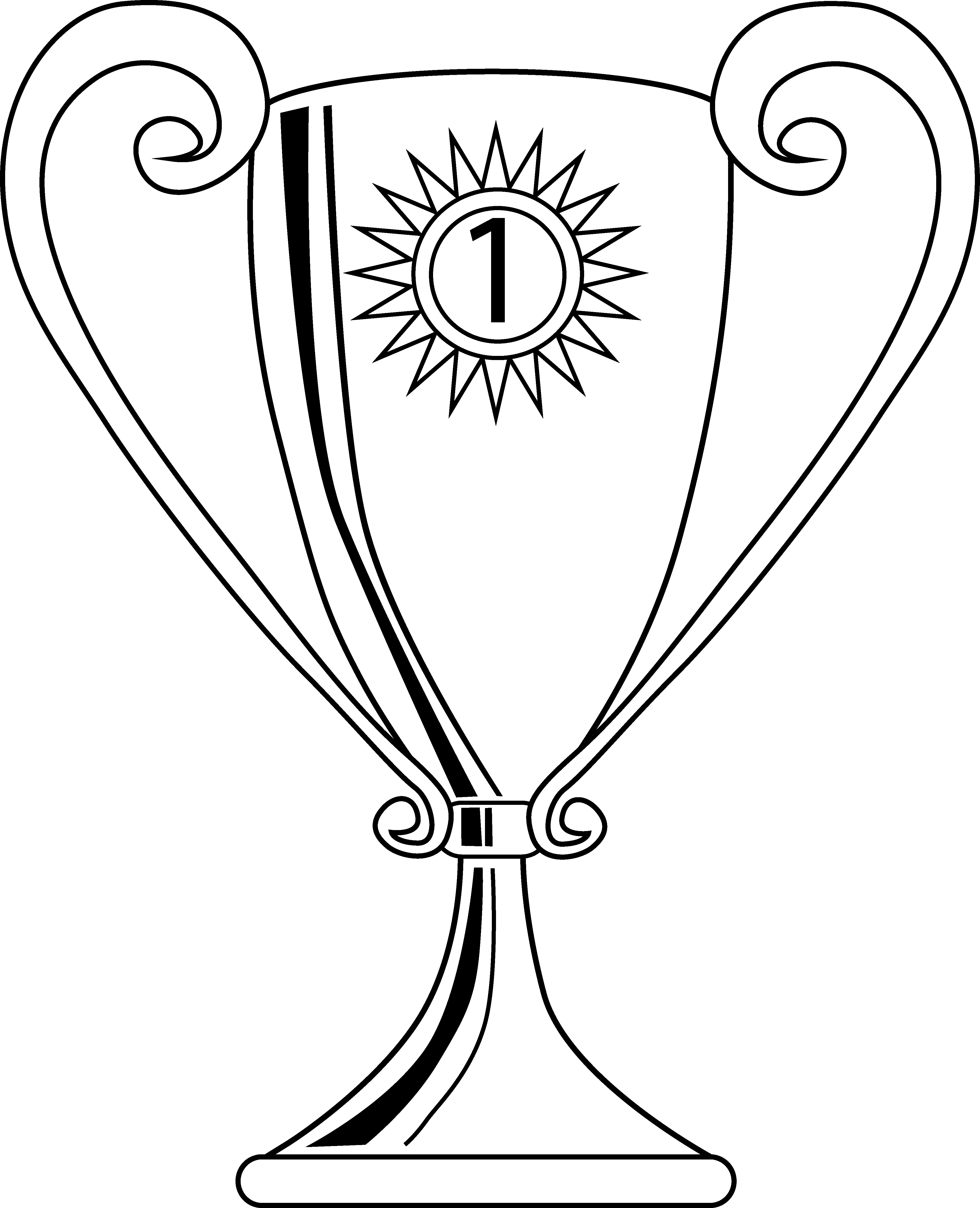 image library download Winning coloring page free. Trophy clipart black and white