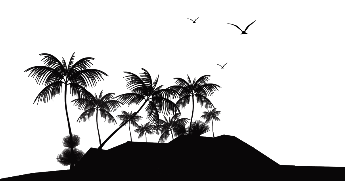 svg freeuse download Beach transparent tropical. Islands resort silhouette island