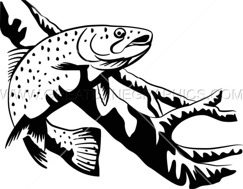 banner transparent library Trout clipart. Drawing black and white