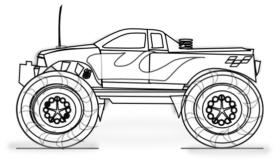 clipart transparent stock Monster Truck Black And White Clipart