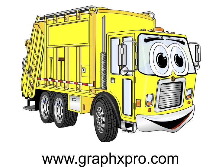 picture Yellow Garbage Truck Cartoon