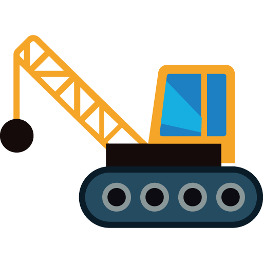 vector free library Construction vehicles clipart. Crane wrecking ball icon.