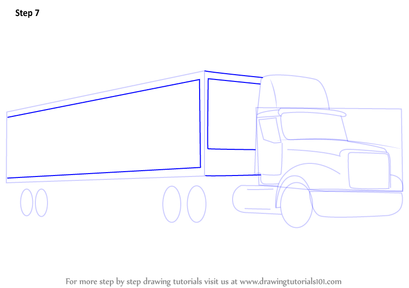 picture freeuse library Trucks drawing trailer truck. Learn how to draw.