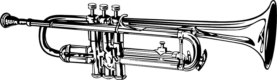 graphic royalty free library Free stock photo illustration. Trumpet clipart black and white