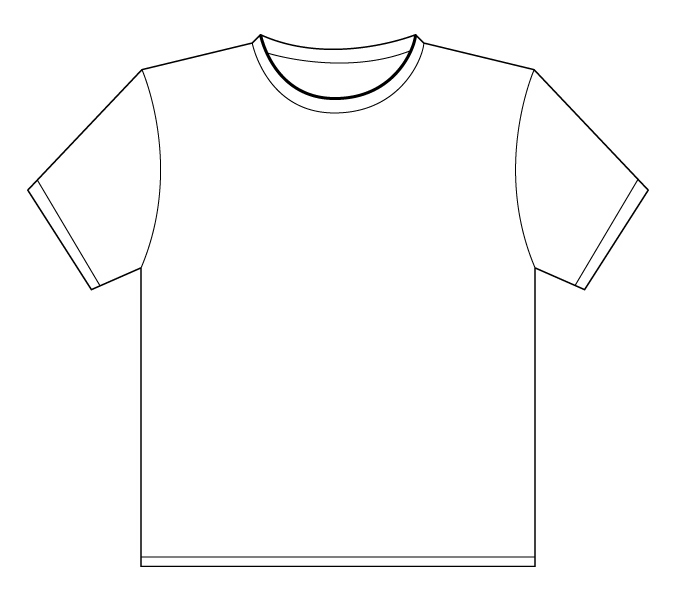 image black and white stock Free t shirt template. Drawing shirts outline