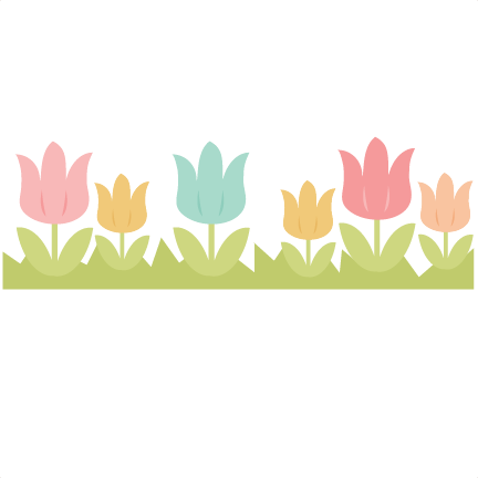 image free Tulip border clipart. Svg cutting file easter