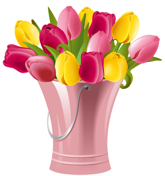 picture black and white download Tulips clipart. Spring bucket with transparent.