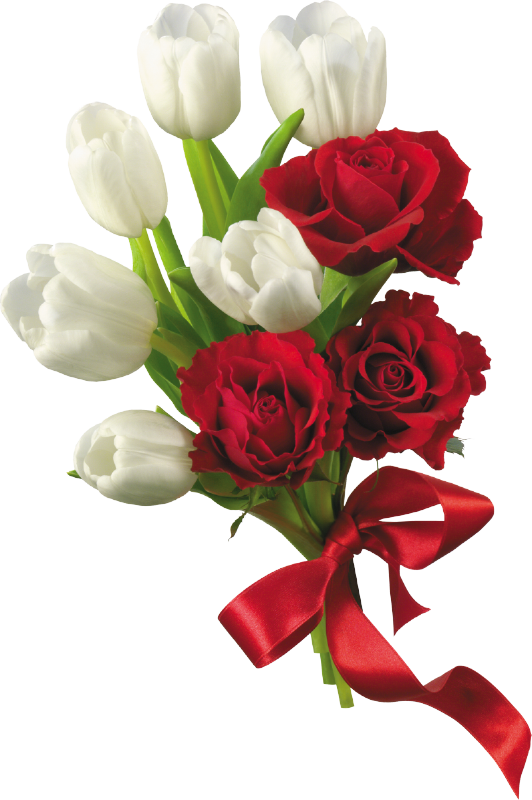jpg royalty free library White tulips and red. Roses bouquet clipart.