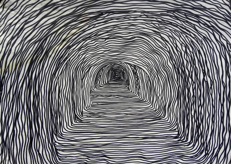 graphic transparent tunnel drawing black and white #142764421