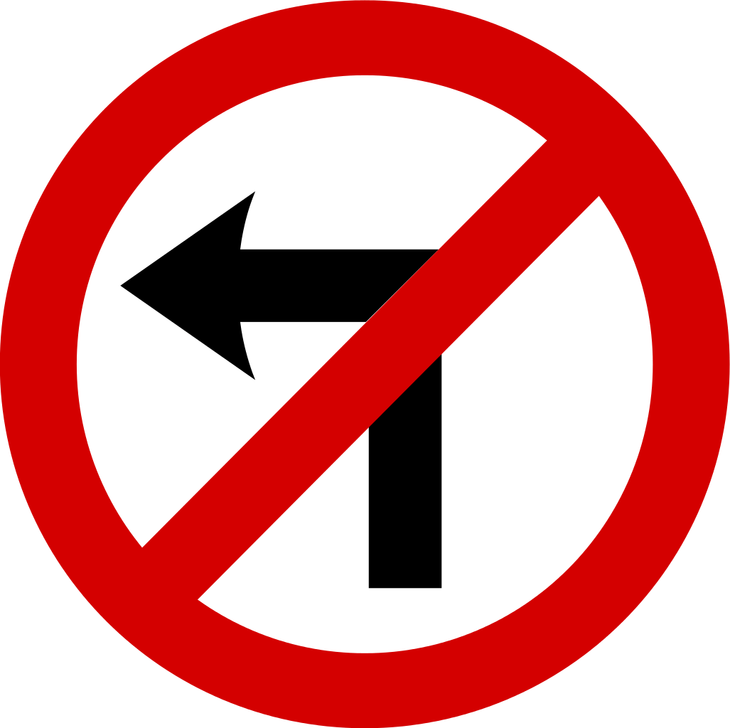 black and white library No Left Turn Traffic Sign transparent PNG