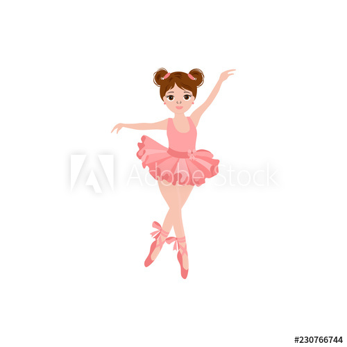 banner black and white Tutu vector. Cute ballerina in pink.