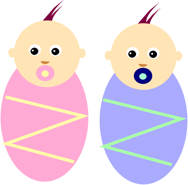 graphic royalty free library Twins clipart. Boy girl twin babies