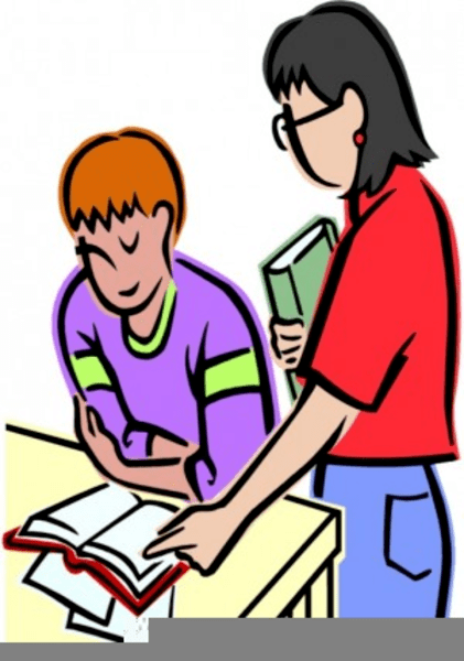 image library stock Portal . Two students working together clipart.