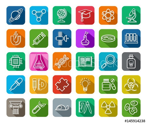 graphic royalty free download Science icons contour vector. Types drawing color
