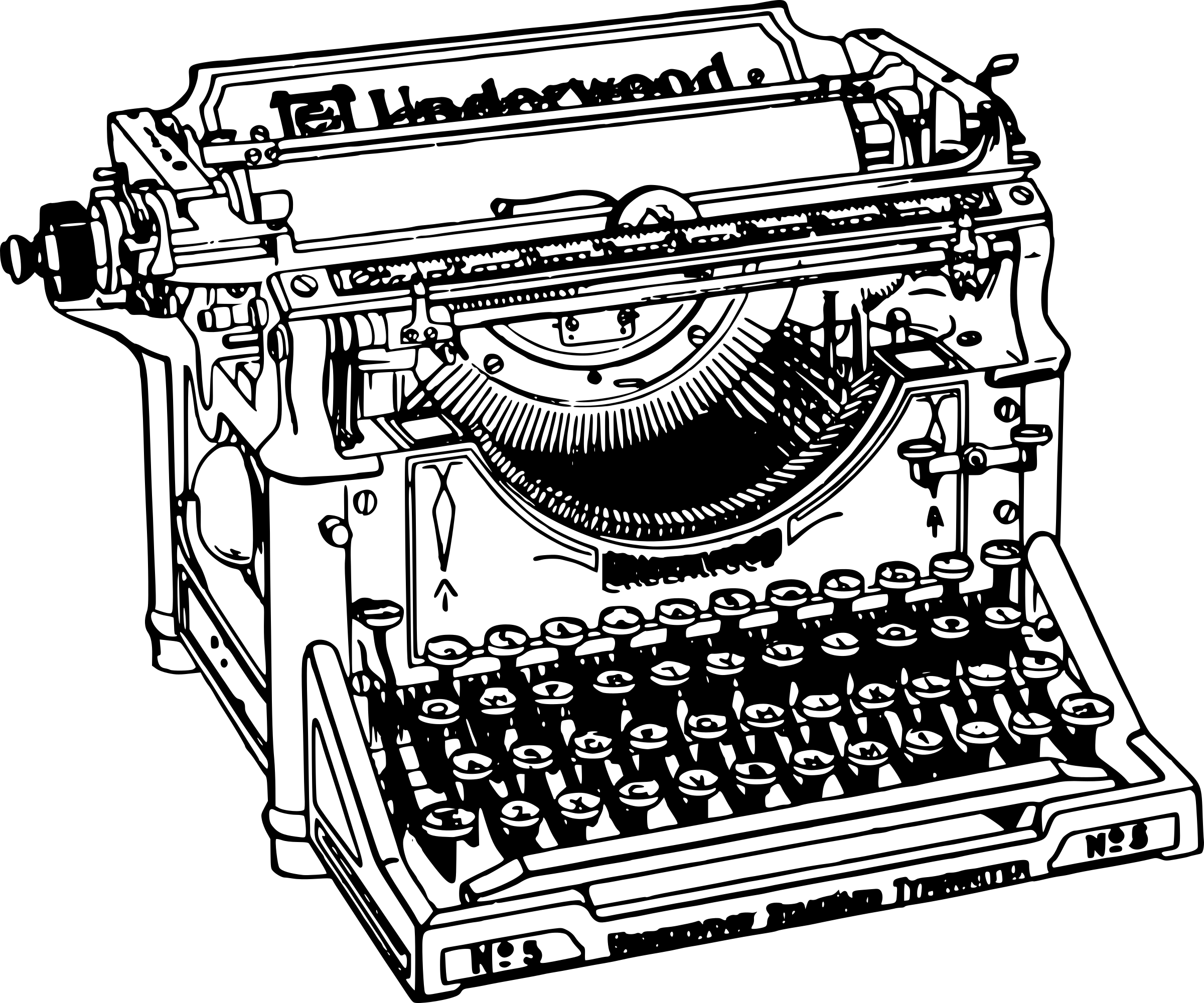 banner stock Typewriter clipart black and white. Old transparent png stickpng