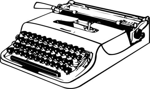 banner library download Machine office supplies invention. Typewriter clipart black and white