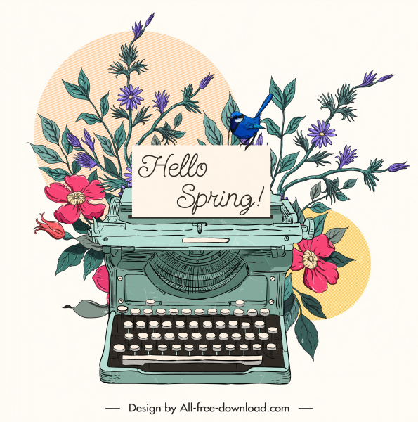 image black and white download Spring card background floras. Typewriter vector classic