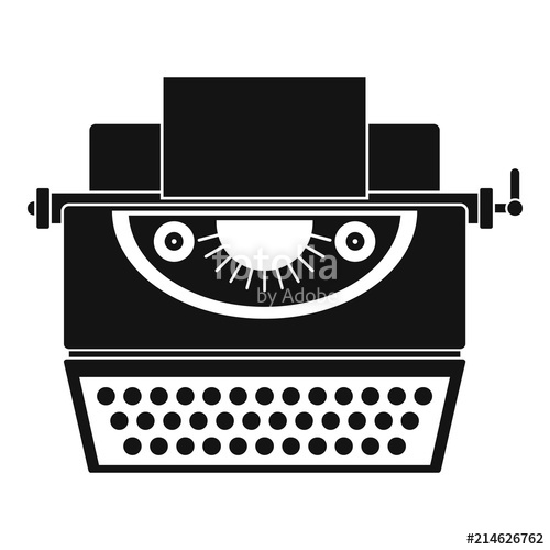 banner library library Icon simple illustration of. Typewriter vector classic