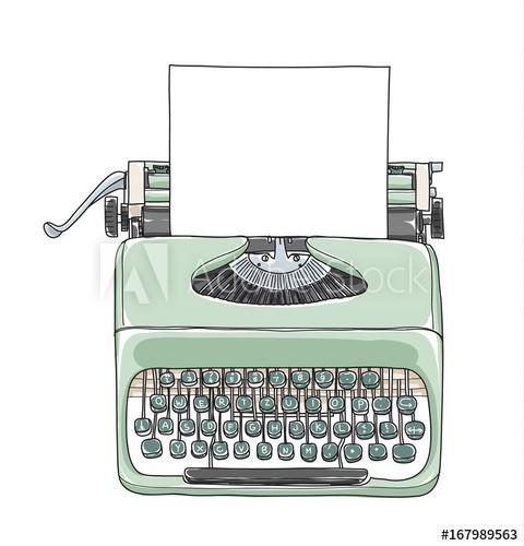 banner royalty free Typewriter vector drawn. Mint green vintage portable