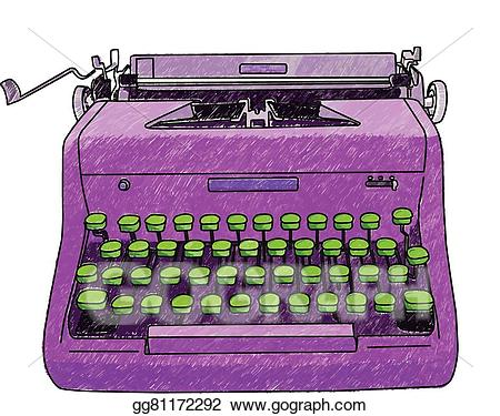 graphic library stock Typewriter vector hand. Clip art drawn stock