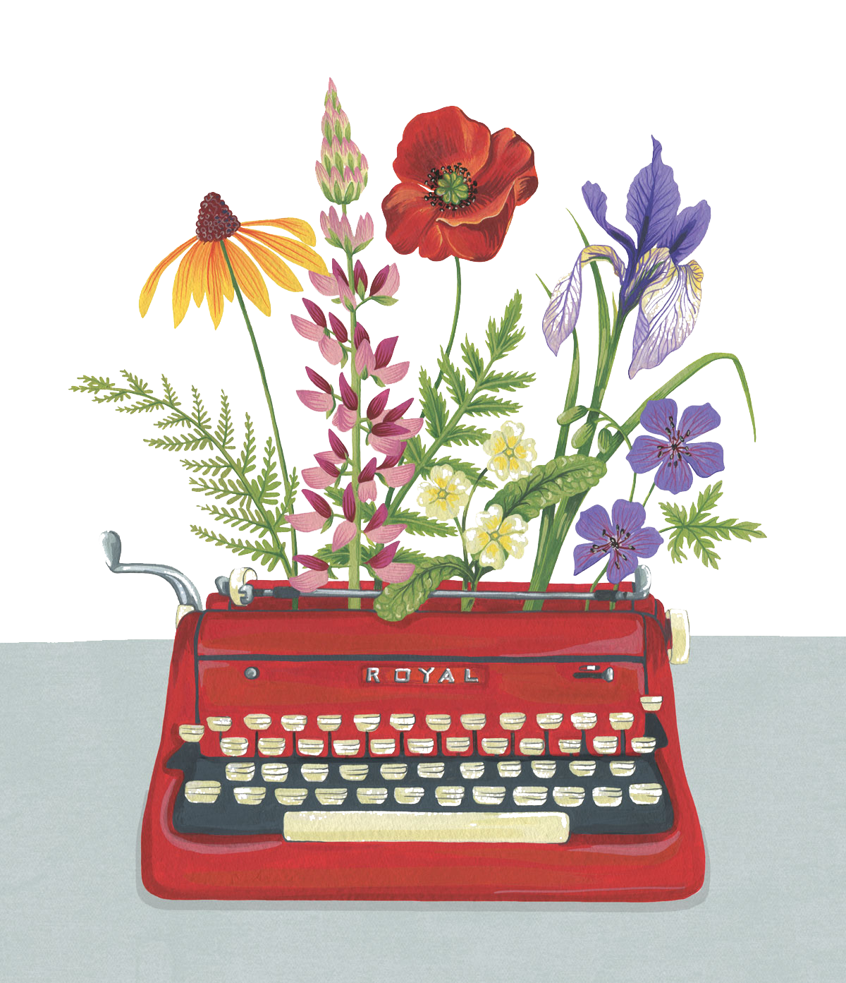 png freeuse Typewriter vector hand. Painted flowers figure transprent