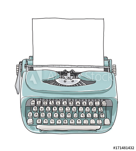 library Blue mint vintage portable. Typewriter vector hand