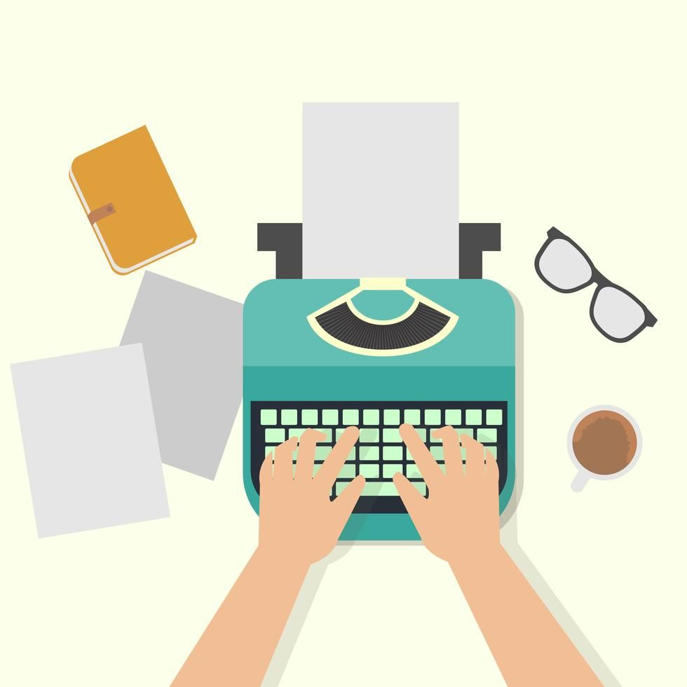 png transparent library Man hands typing an. Typewriter vector hand