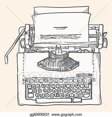 clip transparent stock Eps illustration vintage clipart. Typewriter vector paper clip art