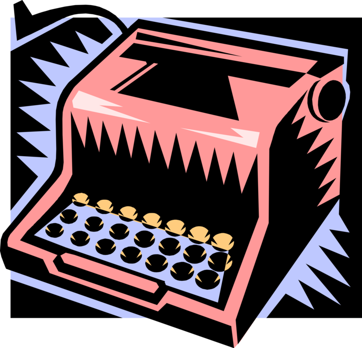 graphic Machine for writing characters. Typewriter vector pink