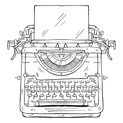 image black and white stock Typewriter vector typing. Paper button stroke transparent