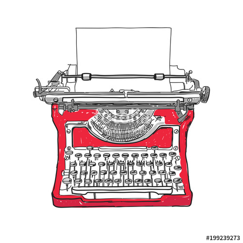 image library library Old style illustration hand. Typewriter vector vintage