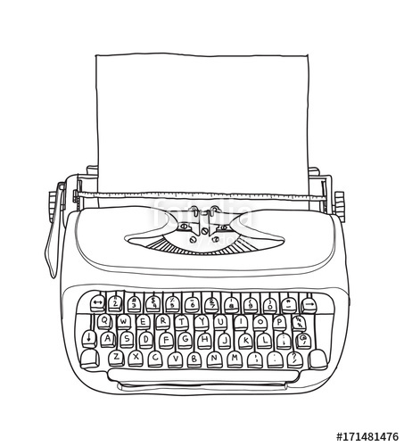 picture black and white download Typewriter vector vintage. Portable retro with paper