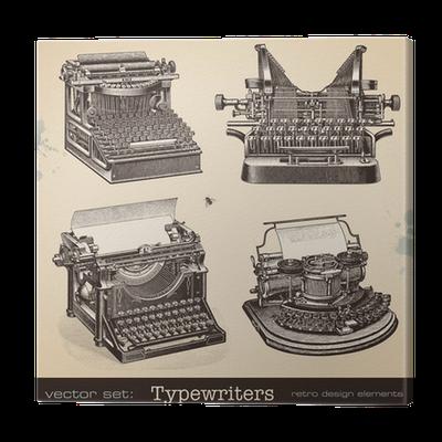 vector stock Typewriters canvas print pixers. Typewriter vector vintage style