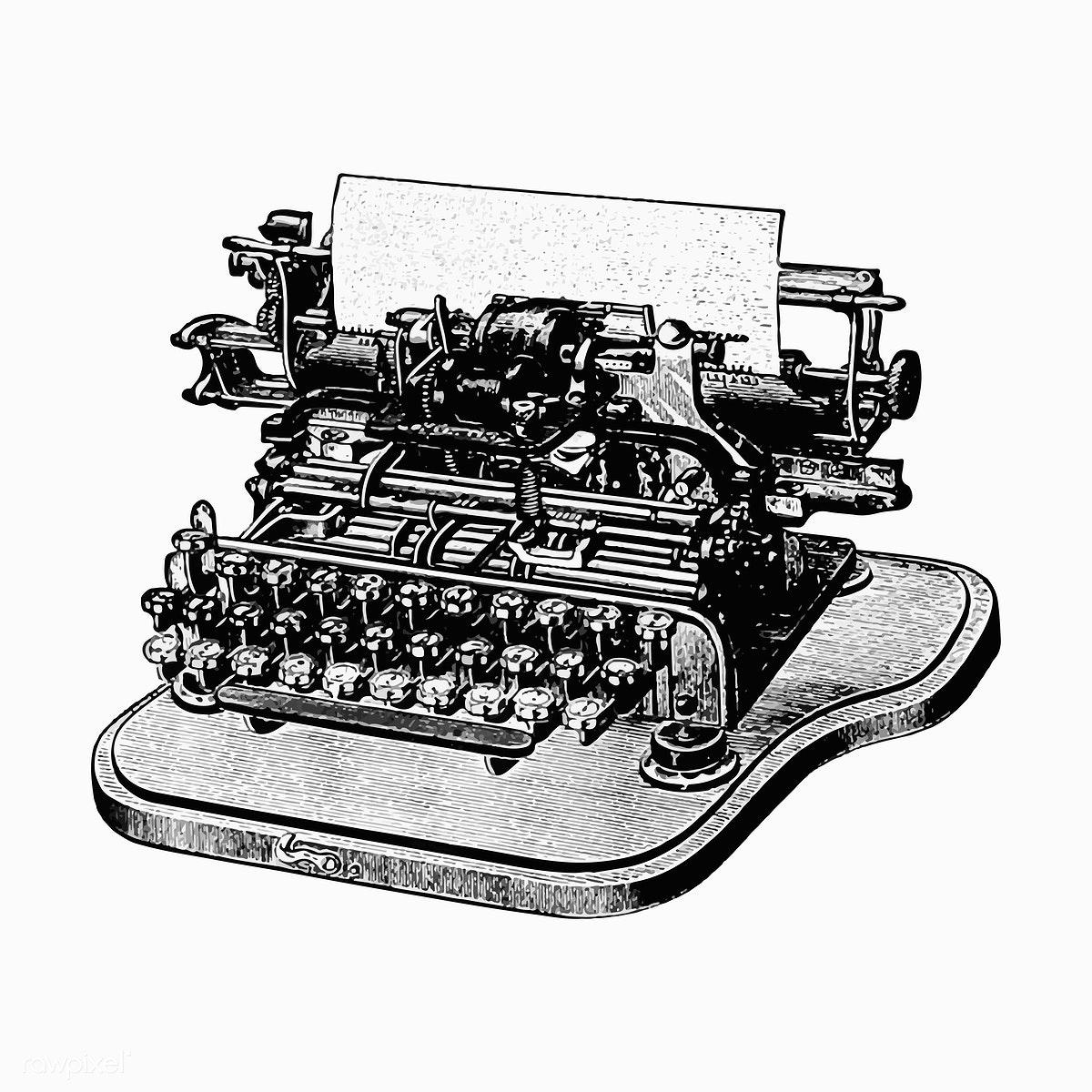 jpg library stock Illustration free stock . Typewriter vector vintage style