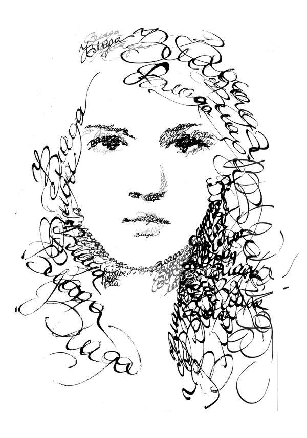 vector royalty free download Typography drawing face. Calligraphy portraits vlada shamova