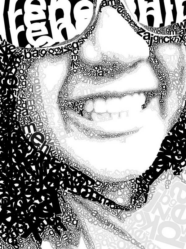 png black and white Typography drawing face. Showcase of modern art