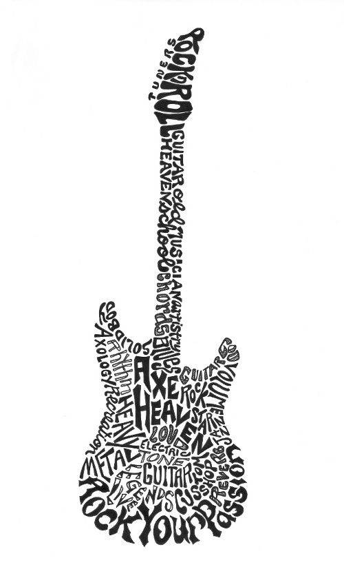black and white download Calligramme by joni james. Typography drawing guitar