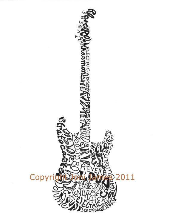 clipart freeuse library Typography drawing guitar. Musical instrument art electric