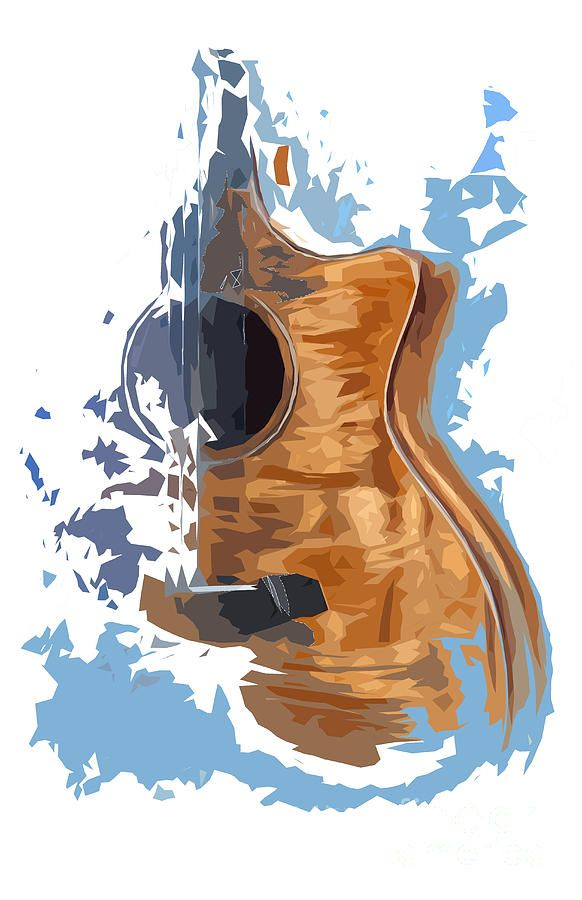 image free Typography drawing guitar. Acoustic blue background design