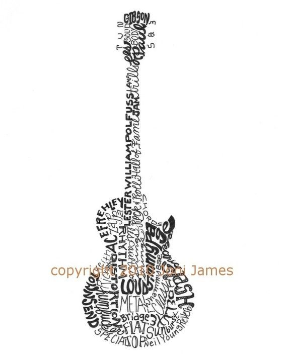 banner royalty free library Typography drawing guitar. Calligrams word art of