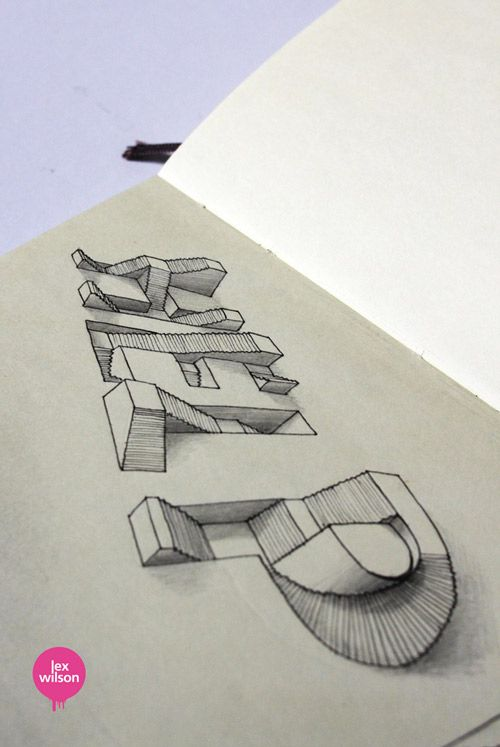 vector black and white Typography drawing illusion.  d typographic drawings